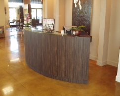 "Reception desk ""Half Moon"" with glass top"