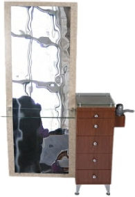 Profile station with mirror and glass counter